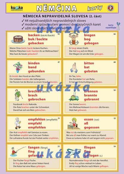 Němčina karty 2 - nepravidelná slovesa