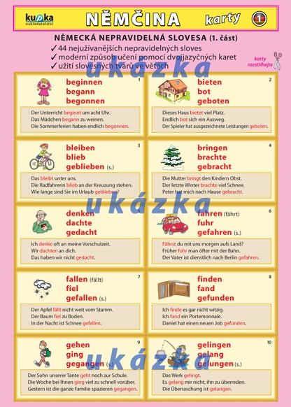 Němčina karty 1 - nepravidelná slovesa nakladatelství Kupka