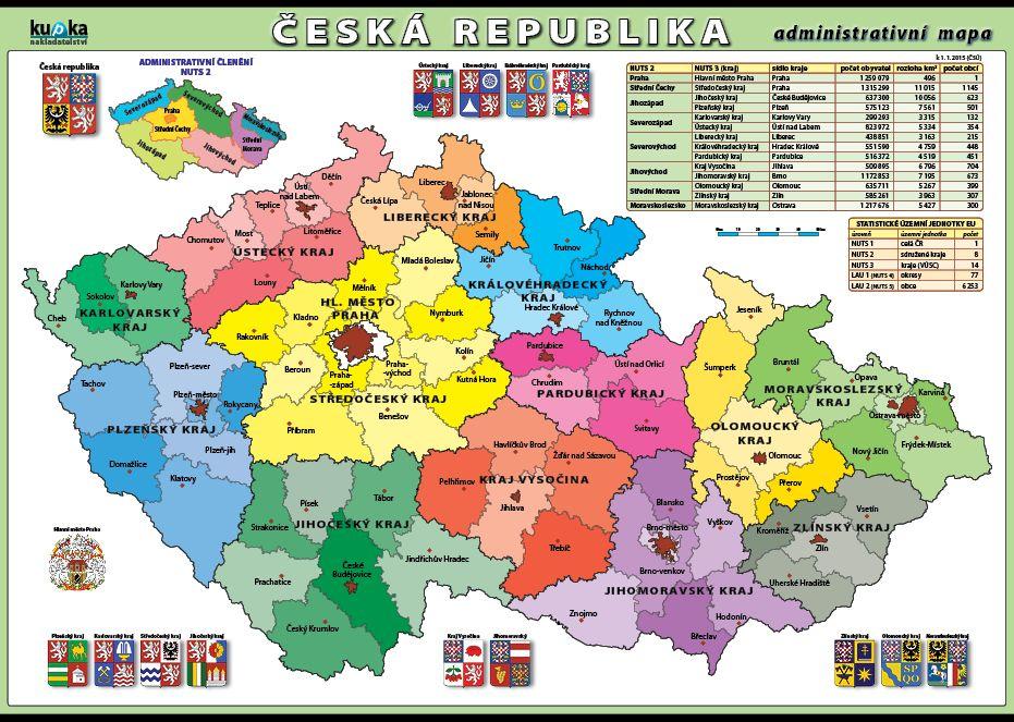 Česká republika - administrativní mapa nakladatelství Kupka