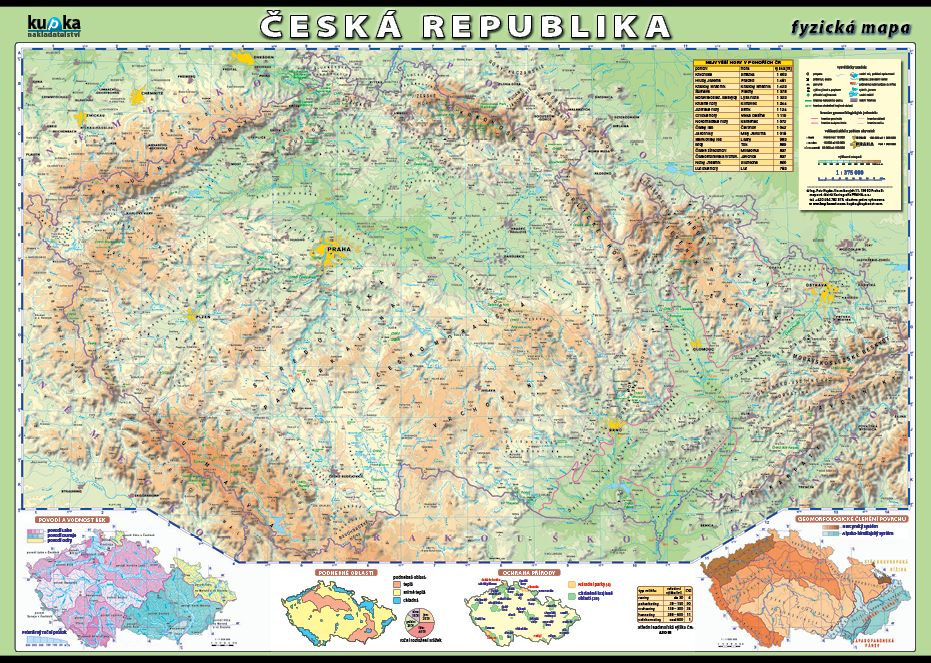 Česká republika - fyzická mapa nakladatelství Kupka