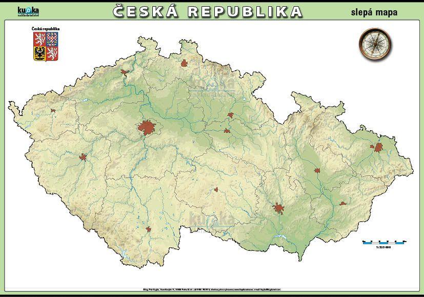 Česká republika - slepá mapa nakladatelství Kupka