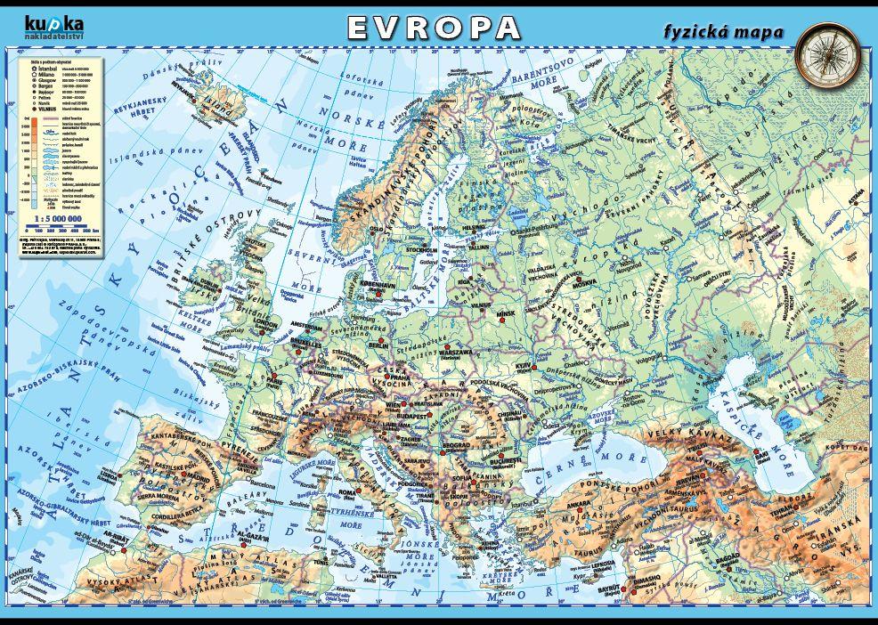 Evropa - fyzická mapa nakladatelství Kupka