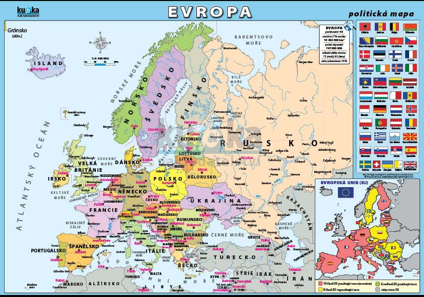 Evropa - politická mapa nakladatelství Kupka
