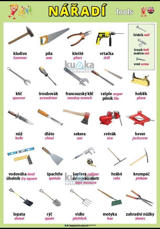 Nářadí (tools) v angličtině nakladatelství Kupka