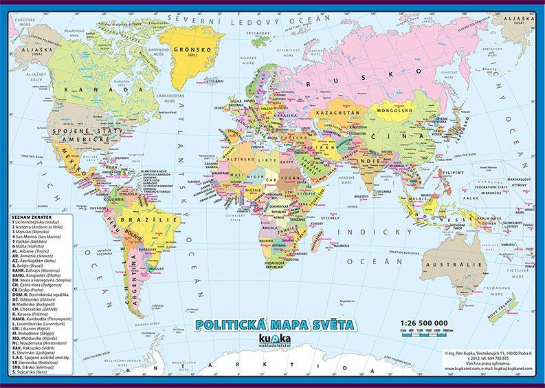 Politická mapa světa nakladatelství Kupka