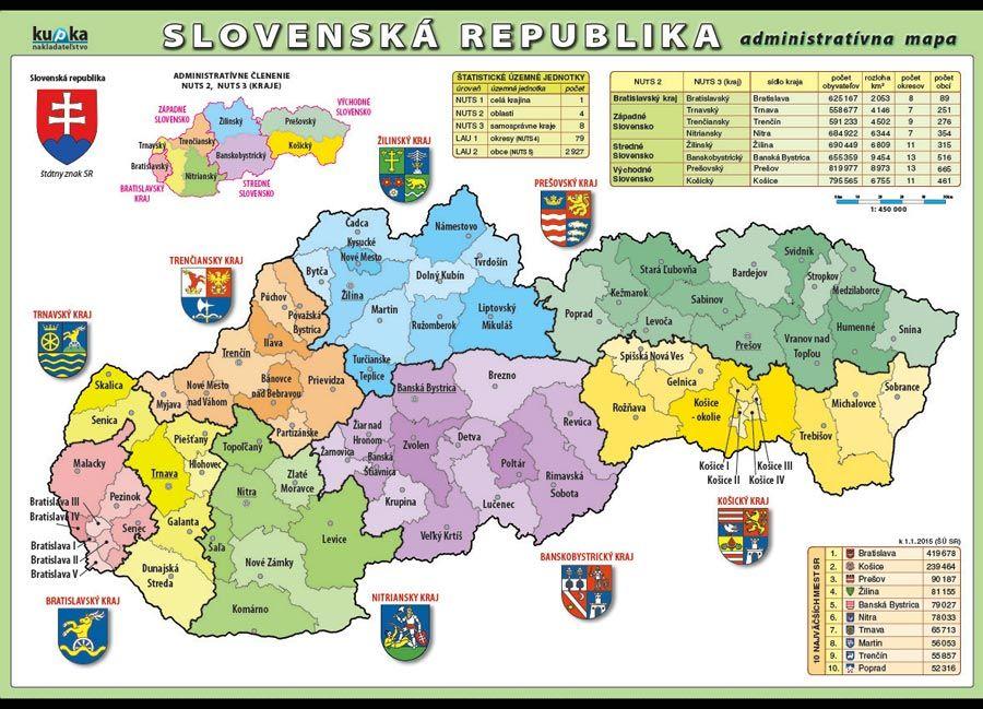 Slovenská republika - administrativní mapa nakladatelství Kupka